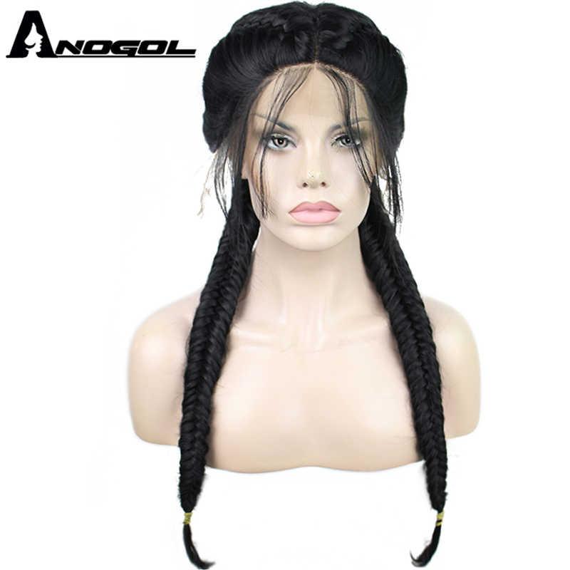 Anogol длинные две косы натуральные черные высокотемпературные волокна средняя часть Синтетический Плетеный парик фронта шнурка с волосами младенца парики