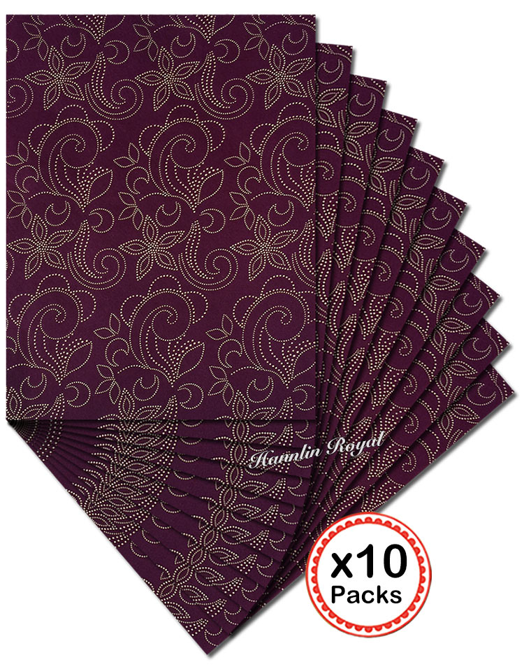 Wine Gold Sego Headtie African Head Scarf gele wrapper 10 packs per Lot 20 pieces total