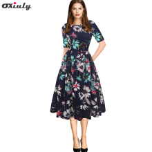 Oxiuly Womens Vintage Party Vestidos Half Sleeve Floral Print A-Line Casual Business Office Skater Dresses