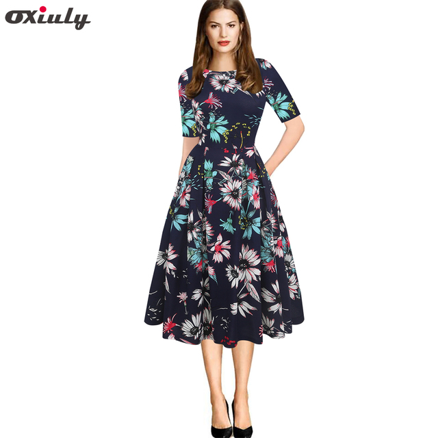 5e9000b95c Oxiuly Women s Vintage Party Vestidos Half Sleeve Floral Print A-Line Casual  Business Office Party Skater Dresses