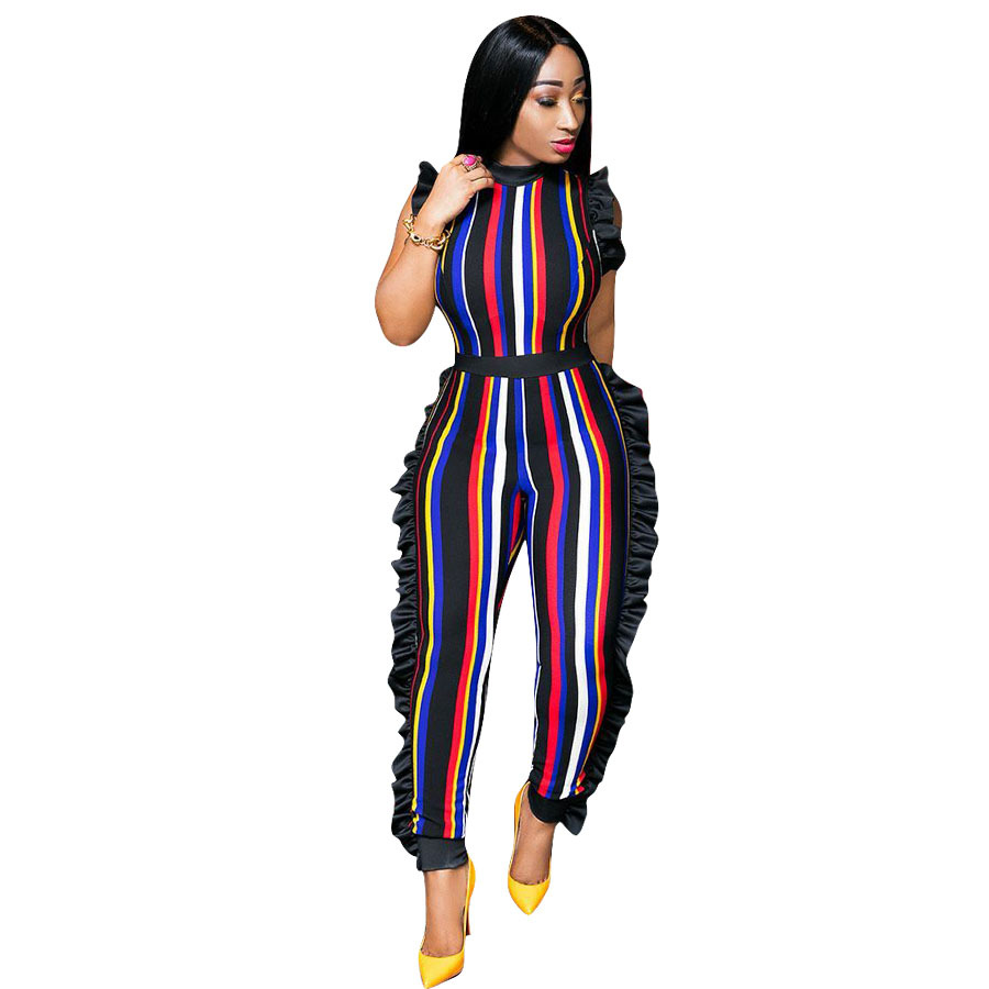 Women's Sexy Stirped Flounce Plus Size Jumpsuits Full Length Straight Sleeveless Casual Jumpsuits 5 colors 2018 Hot Sale 1