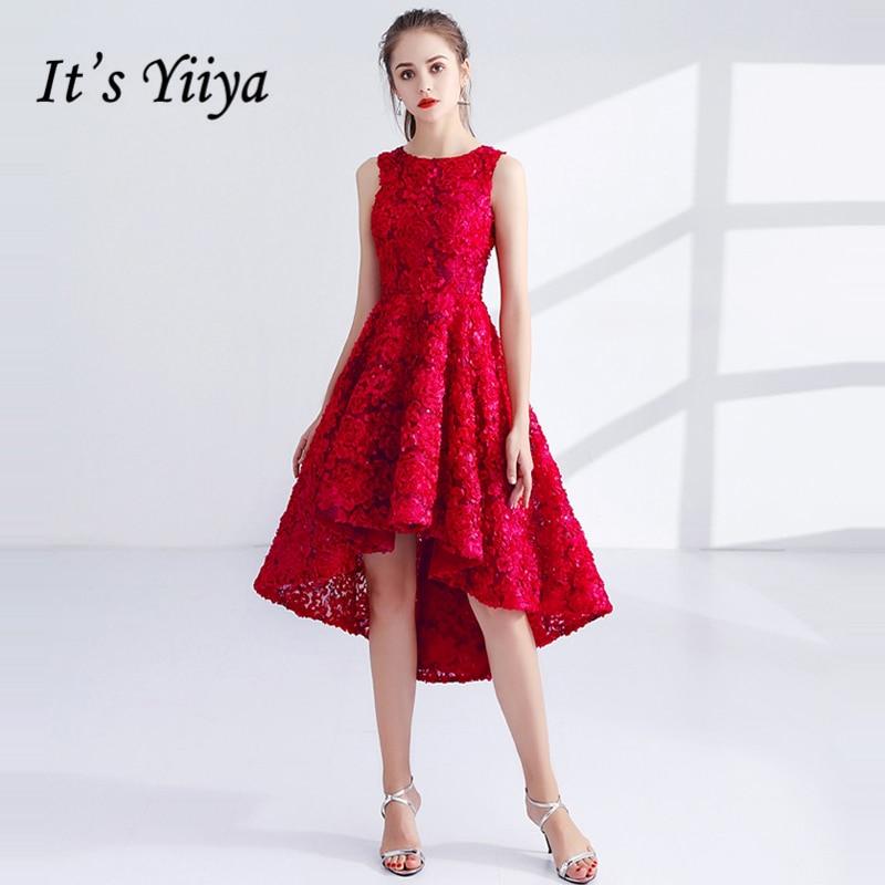 Its Yiiya Prom Dresses Girls Sleeveless O Neck Flower Highlow Prom