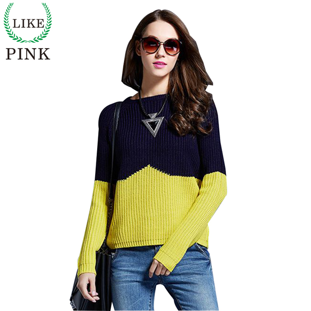 LIKEPINK 2016 Autumn Women Cashmere Pullover Patchwork Wool Sweaters Knitted Sudaderas Jumper Jerseys Mujer Pull Long Femme S~L