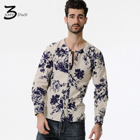 2017 New Products Men S Fashion High Grade Flax Printing Character Long Sleeve Shirts Male Leisure