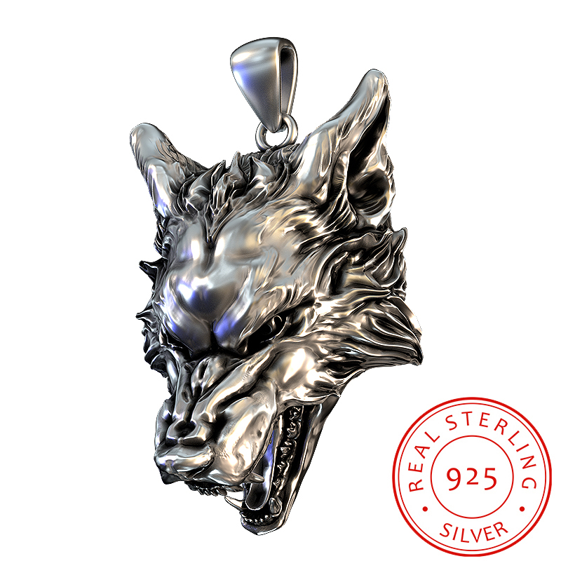925 Silver Wolf Head Pendant Nordic Vikings  Nordic Wolf Head Original Necklace Jewelry Animal Head Of Wolf Hange