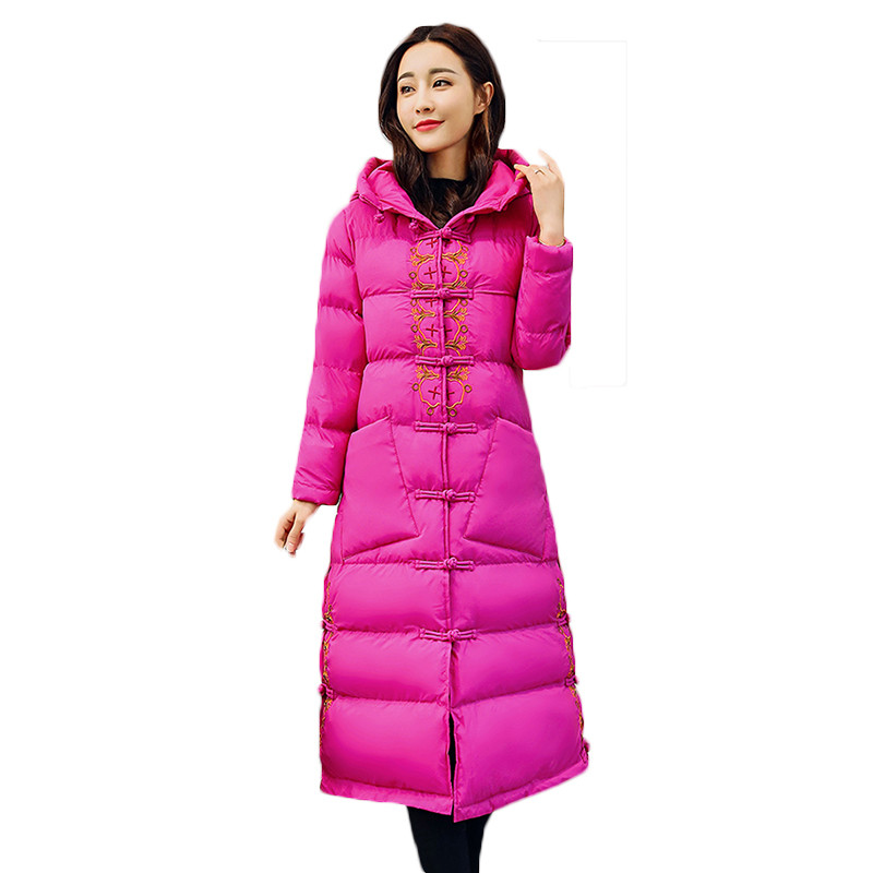 Women's Winter Chinese Style Cotton Jackets Thick Warm Cotton Outerwear Embroidery Hooded Coats Medium Length Parkas LQ313