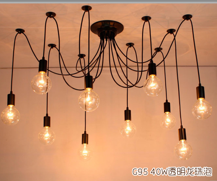 Nordic American Retro Iron Creative Edison Industrial Tiannvsanhua Cafe Pendant Lighting 10 Head Lamp Light