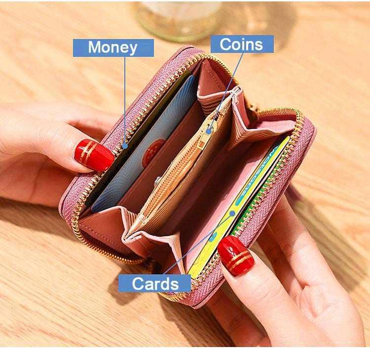 Borlas mujeres billeteras cremallera monedero remaches Moneybags señora monederos niñas billetera corta tarjetas titular de la identificación Burse Mini BOLSA solapas