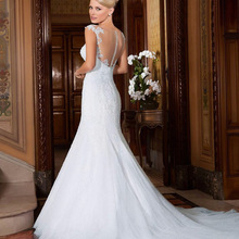 Fnoexw Robe de mariage Mermaid Wedding dresses Cap Sleeve