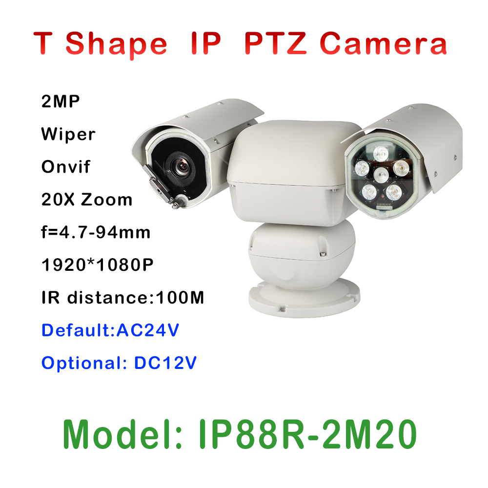 new 2MP INFRAR Wiper IP PTZ Camera ONVIF 1080P high security video surveillance pan tilt 20X zoom brand camera module IR 100M high quality laser ir 500m ip ptz camera onvif 4 6 165 6mm lens 36x optical zoom for harsh environment security surveillance