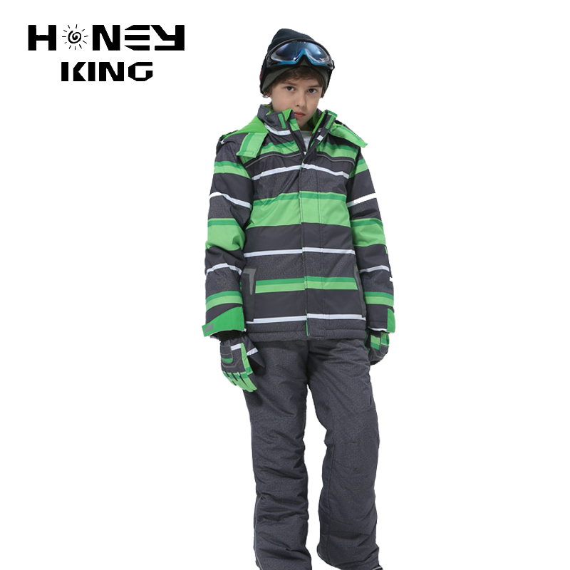 HONEYKING 2PCS Child Waterproof Hooded Snowboard Jacket Sets For Boys -30 Degree Clothes Winter Outdoor Sport Ski Jacket+Pants