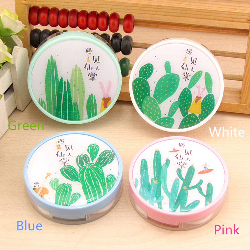 LIUSVENTINA 2018 New Cute Meeting cactus Contact Lens Case With Mirror Box Container for Color Lenses Birthday Gift for Children