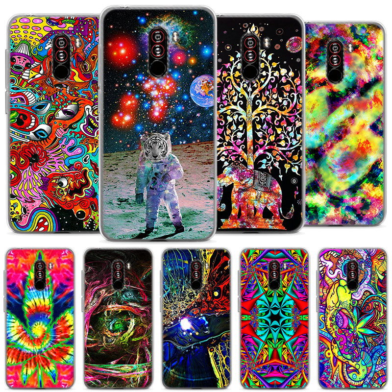 psychedelic trippy abstract art soft Silicone case cover for Pocophone F1 Poco F1 (6.18 inch) Protective TPU soft phone case coq