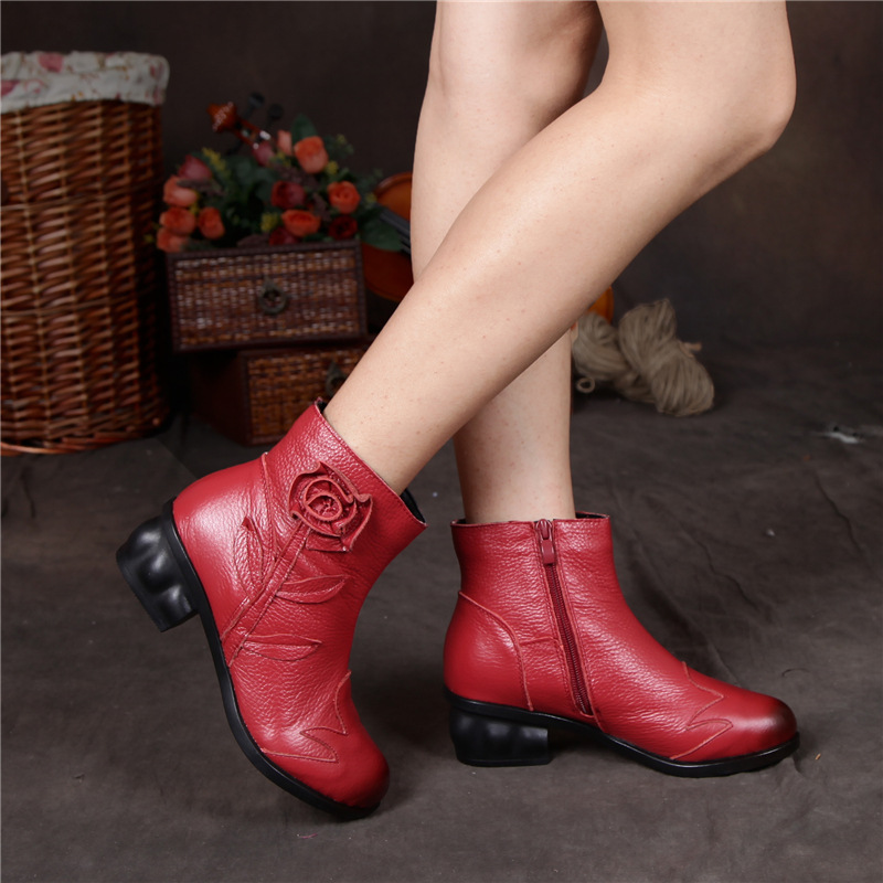 100% Genuine Leather Ankle Boots For Women Vintage Flower Med Square Heel Shoes Woman Spring/Autumn Women Boots Red Black