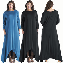 Middle East hot new fashion personality loose large size wide leg solid color simple fat MM casual women's dress autumn new middle east popular solid color loose casual hanging neck loose wide leg large size fat mm sexy ladies dress