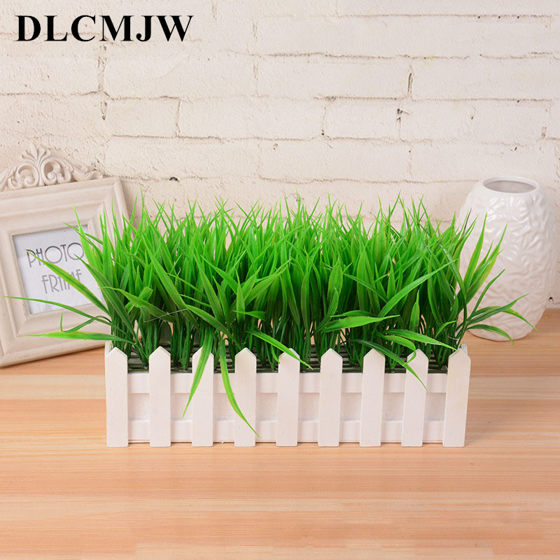 Artificial Plant Green Grass Decor Flower Bonsai Green Plant Fake Flower Potted For Wedding Home Garden