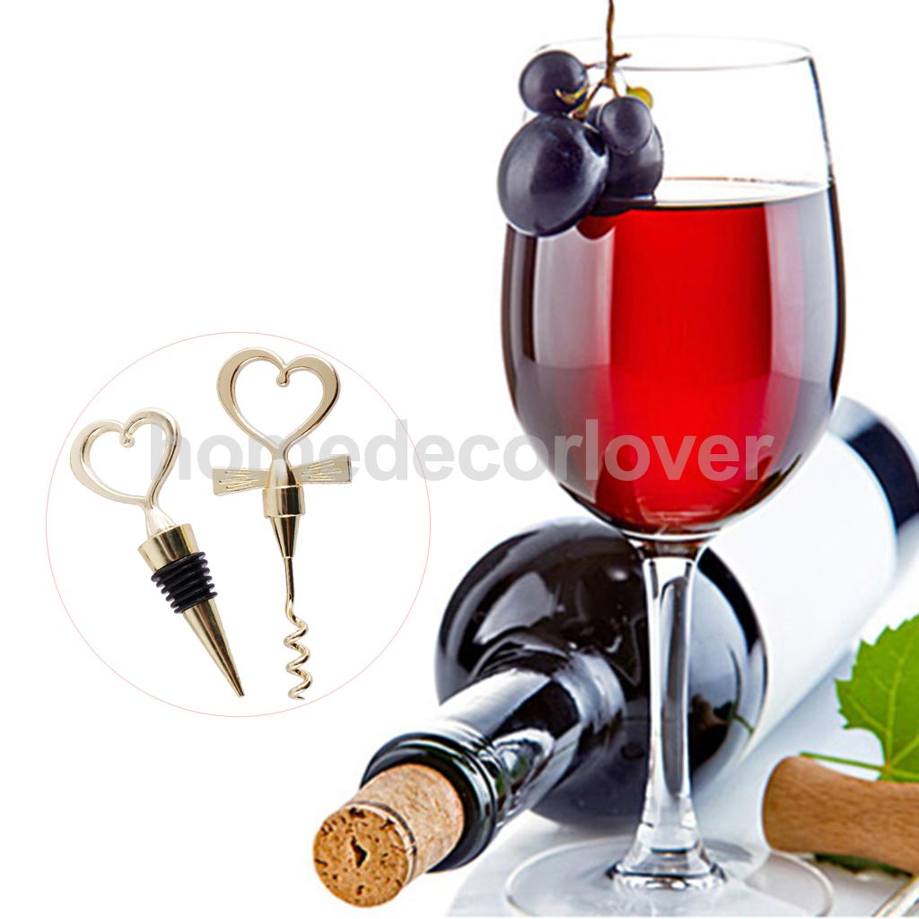 Perfect 1 Pair Gold Love Heart Red Wine Bottle Stopper Champagne ...