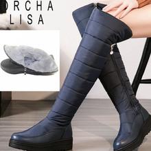 ORCHA LISA Brand grube pluszowe kolana wysokie buty ciepłe Snow Buty zimowe kobiety Zipper platforma Wedges zimowe buty Botines mujer C010 tanie tanio Dorosłych Klamra Gumowe Dół Zima Wysokie kolana Płaskie z Z (3cm-5cm) Okrągły palec Pasuje do rozmiaru Weź swój normalny rozmiar