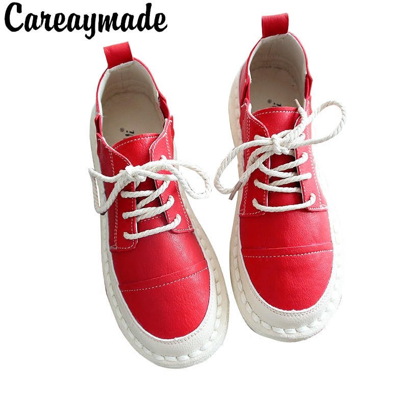 Careaymade Spring new pattern Mori girl retro art shoes Hand sewn flat shoes Low shoes Women
