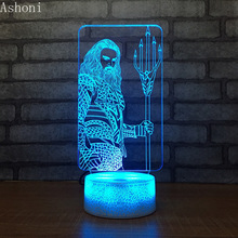 Aquaman Figure 3D LED Table Lamp Baby Touch Colorful 7 Color Change Acrylic Night Light Home Bedroom Decor Kids Christmas Gifts hot sale cartoon figure 3d elsa anna bulb night light led lamp colorful atmosphere gadget decor bedroom baby girl kid gifts rc