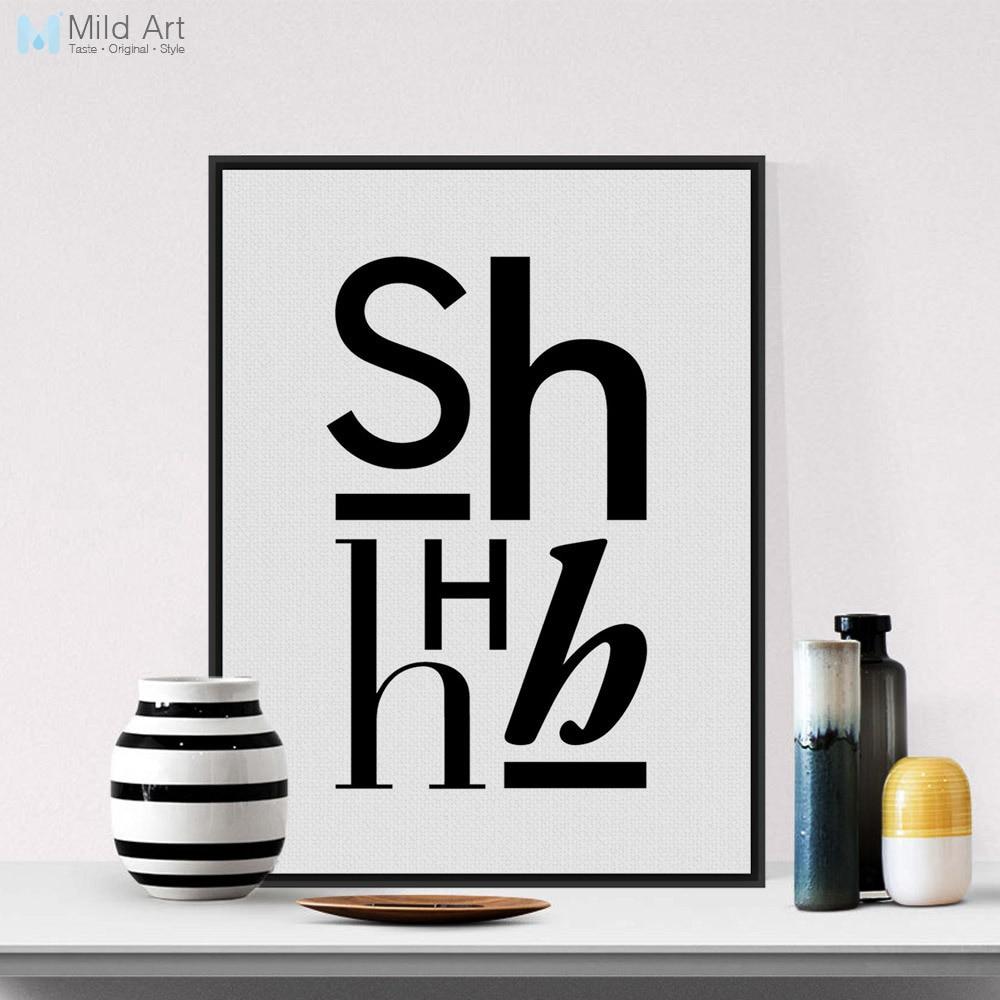 Moderní Abstrakt Černé Bílé Dopisy Plakáty Reprodukce Skandinávský Obývací pokoj Nástěnné umění Obrázky Home Decor Canvas Painting No Frame