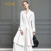 VOA тяжелый шелк Белый Для женщин топы кимоно T рубашка в китайском стиле футболка Винтаж Harajuku Flare с длинным рукавом Повседневное застежка кли