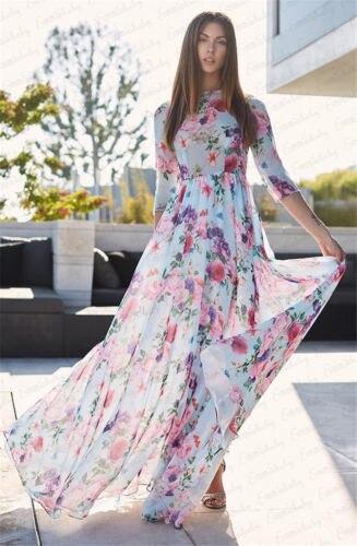 d81a746d4d Kobiety długa sukienka w dużym rozmiarze Boho kwiatowy lato plaża długie  suknie wieczorowe Party pół rękaw