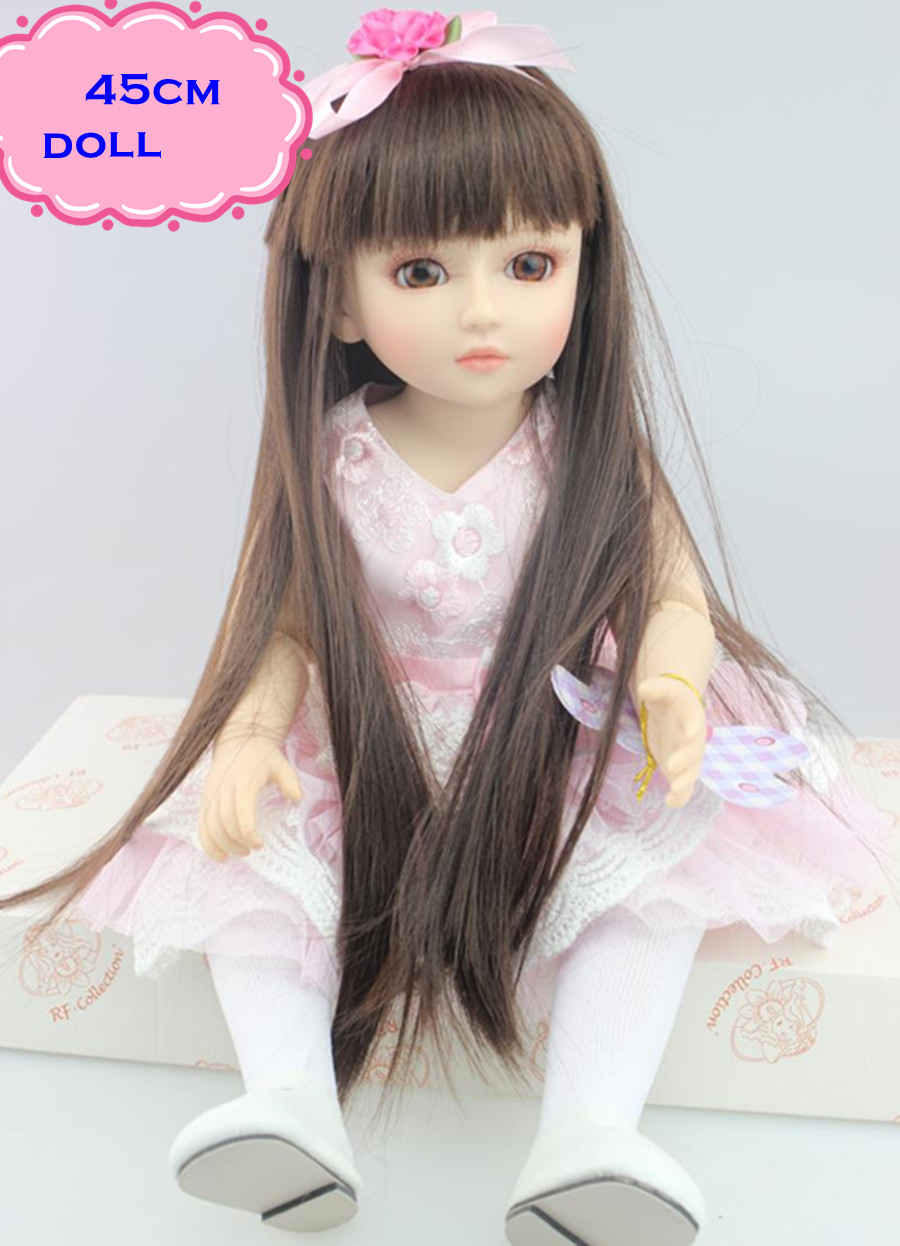 18inch Princess Style Reborny SD/BJD Doll With Full Silicone Vinyl Doll Body Real Looking Silicone Reborn Dolls Toys For Girls 18 inch 45cm new lifelike vinyl reborn baby doll full vinyl sd bjd body dolls with clothes for girls gh587