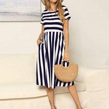 82bd606dc7e1 Women cotton and linen Dress 2019 striped Print Sleeveless Summer Dress  office Casual Loose long Dresses