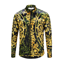 be46fa533310 2019 Mens 3D Floral Print Casual Covered Button Chemise Homme Medusa Shirt  M XXL