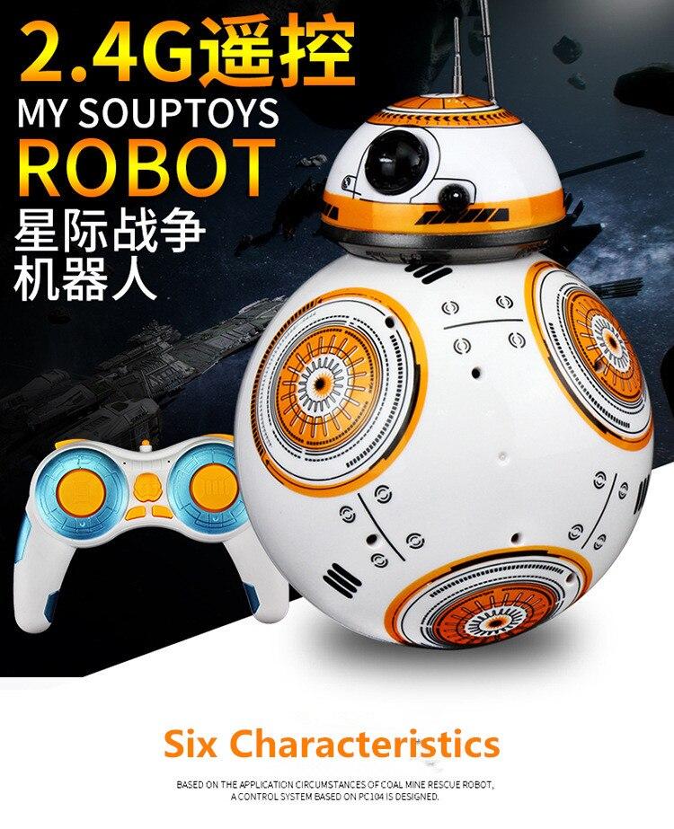 2017 vente chaude RC Robot BB8 BB-8 Anime balle action jouet 2.4G télécommande intelligente petite balle amérique classique film modèle jouet