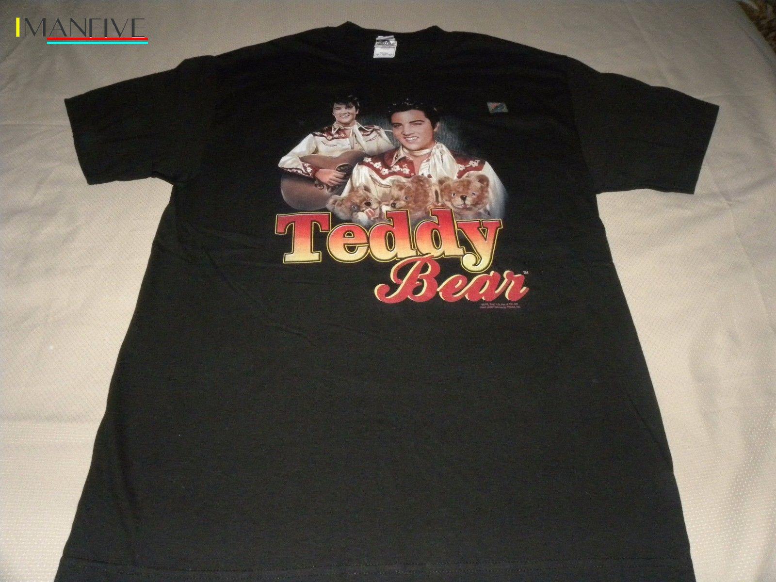 Elvis Presley Teddy Bear Graphic Black TShirt Size L Streetwear harajuku Print Cotton funny t shirts men in T Shirts from Men 39 s Clothing