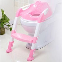 Baby Toddler Potty Toilet Trainer Safety Seat Chair Step with Adjustable Ladder Infant Toilet Training Non slip Folding Seat Red