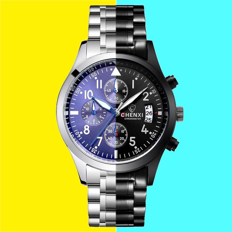 CHENXI Men sports watches fashion quartz-watch Men's All Black steel band wristwatches Quartz clock Waterproof watch man Gift