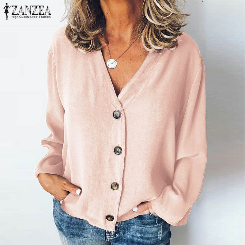 2019 Fashion Women   Blouses     Shirts   Sexy V Neck Buttons Tunic Tops ZANZEA Office Ladies Work Chic Blusas Plus Size Chemiser Mujer