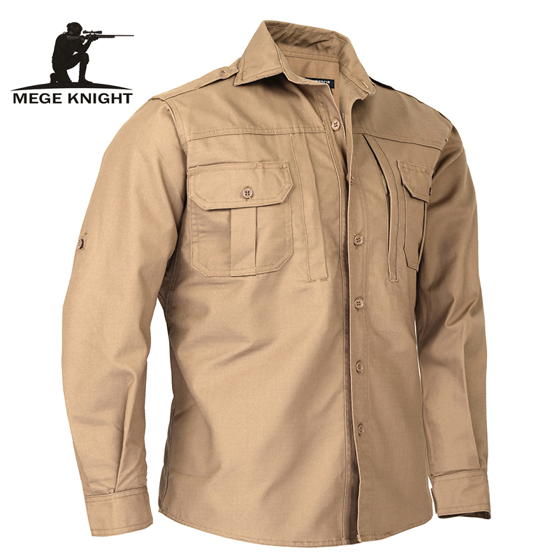 Mege Brand Autumn Spring Military Style Men Shirt Long Sleeve Tactical Camouflage US Army Shirt Ripstop Casual Blouse Uniform