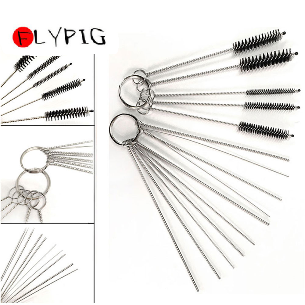 FLYPIG Stainless Steel Tool Brush Carburetor Carbon Dirt Jet Remove 10 Cleaning Needles + 5 Brushes Kits Set Fits Suzuki