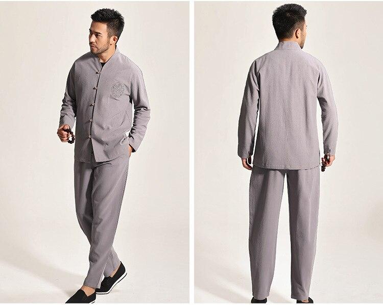 High Quality Gray Chinese Men's Cotton Kung Fu Suit Solid Color Wu Shu Sets Shirt&Pant Uniform S M L XL XXL XXXL - 2