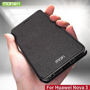 Image 1 - Para Huawei nova 3 funda para Huawei nova 3 funda de silicona nova 3 flip cuero Mofi para Huawei nova 3 funda 360 metal a prueba de golpes