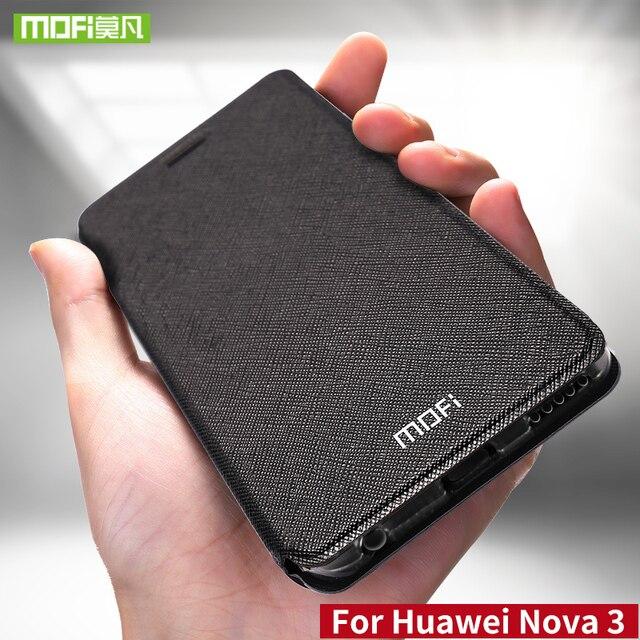 Para Huawei nova 3 funda para Huawei nova 3 funda de silicona nova 3 flip cuero Mofi para Huawei nova 3 funda 360 metal a prueba de golpes