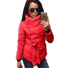 Down Coat 2017 Winter Women Down Jacket Female Parkas Casual Jackets High Collar Belt Overcoat Women Parka Wadded Plus Size