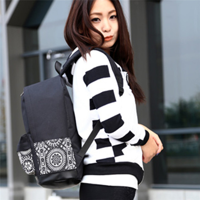 Fashion Women Canvas Printing Backpack Lightweight School Backpacks for Girls Teenagers Female Large Travel Bags 2