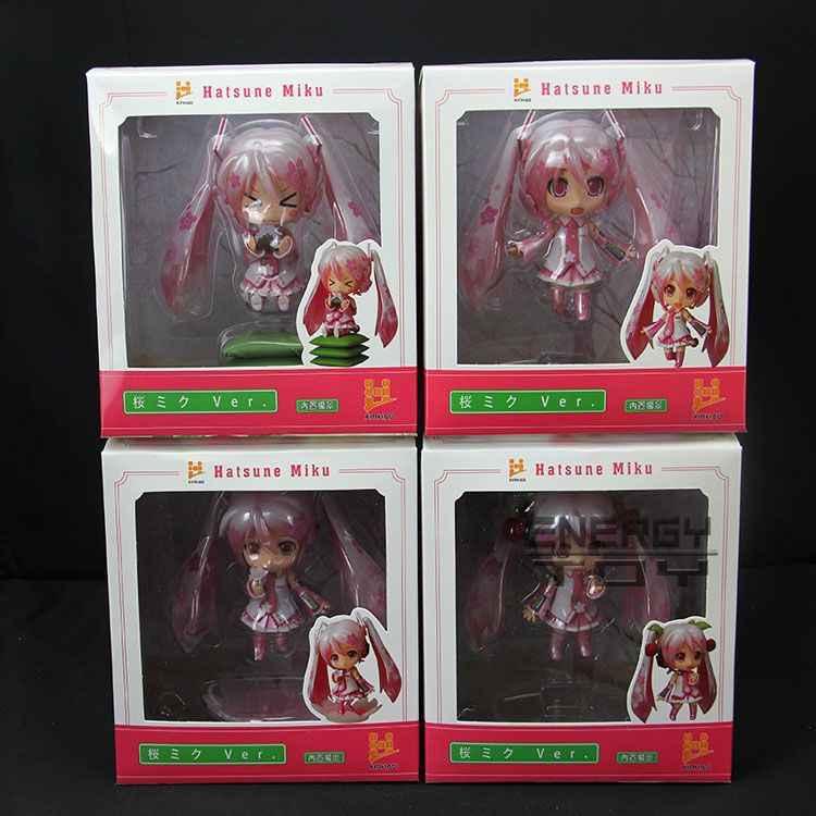 "Vocaloid Hatsune Miku Sakura Pink PVC Action Figure Model Cute 4"" Collection Toy 4pcs/lot in box 10cm"