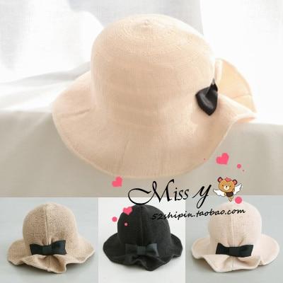 Summer Linen Sun Hats For Women Vintage Wide Brim Beach Hats Female Bucket Hats Chapeau Free Shipping WDDS-002