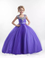 New Girls Pageant Dress Glitz Flower Dresses Princess Ball Gown Scoop Beads Crystals Backless Custom Made