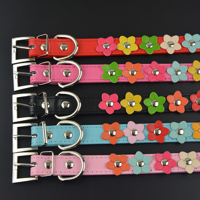 New Fashion PU Leather Dog Collar One Row Sun Flower Studded Small Dog Pet Teddy Necklace Collar 2