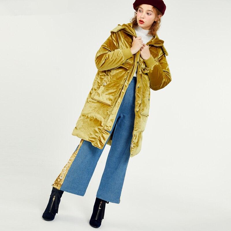 Vers 2017 À Capuchon Lettre Velours Au Yellow Chaud Bas Jq235 Broderie Épaissir Le Garder Robes Mode Femme Hiver Nouveau Rose Veste Lady Poches zqw84vzr