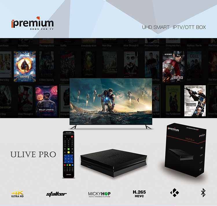 Ipremium Ulive Pro Android TV Box Set Top Box 4K 8GB Stalker Middleware &  Mickyhope OS Wifi IPTV Media Player