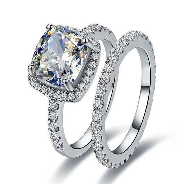 Real Au750 3ct Clear Cushion Engagement Ring Enernity Band Synthetic Diamonds Solid White Gold Set