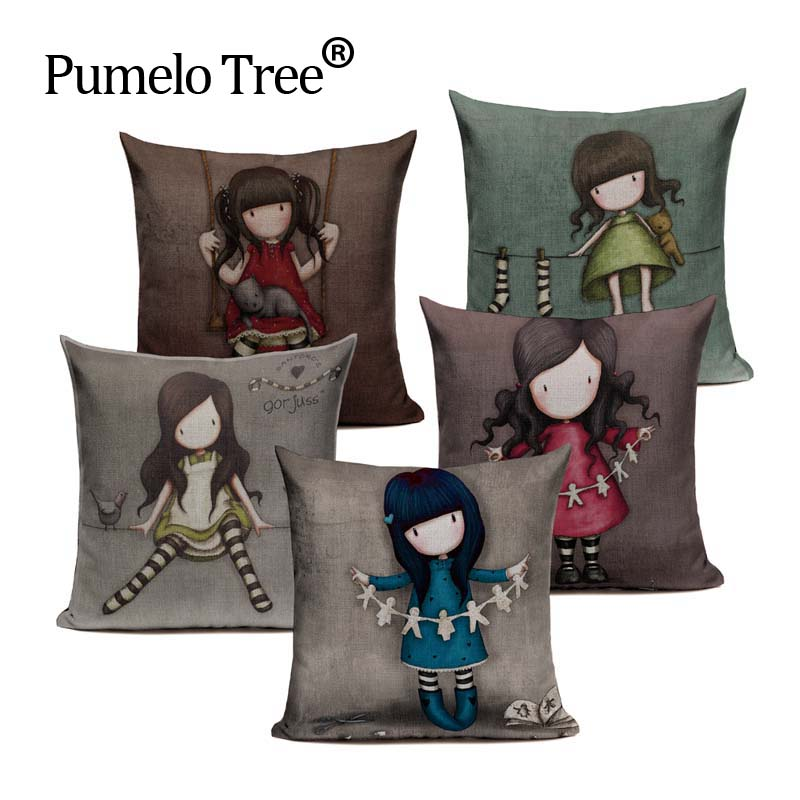 Hot Selling Four Seasons Lonely Girl Printing Cushion Cover Linen Cotton Pillow Case Square 4545cm Home textile product